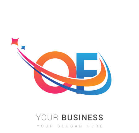 initial letter OF   company name colored orange, red and blue swoosh star design. vector   for business and company identity. Ilustração