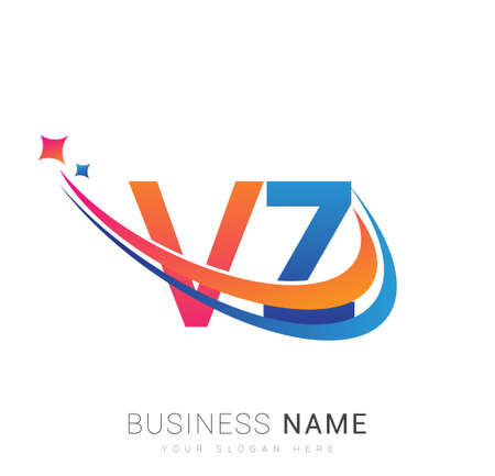 initial letter VZ company name colored orange, red and blue swoosh star design. vector for business and company identity.