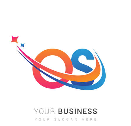 initial letter OS company name colored orange, red and blue swoosh star design. vector for business and company identity. Vector Illustration