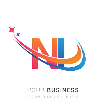 initial letter NI company name colored orange, red and blue swoosh star design. vector for business and company identity.