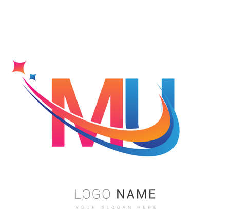 initial letter MU company name colored orange, red and blue swoosh star design. vector for business and company identity. 向量圖像