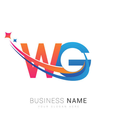 initial letter WG company name colored orange, red and blue swoosh star design. vector for business and company identity.