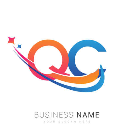 initial letter QC company name colored orange, red and blue swoosh star design. vector for business and company identity.