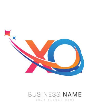 initial letter XQ company name colored orange, red and blue swoosh star design. vector for business and company identity.