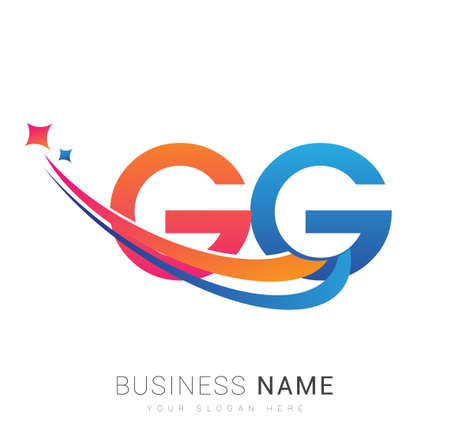 initial letter GG company name colored orange, red and blue swoosh star design. vector for business and company identity. 向量圖像