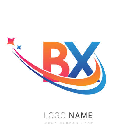 initial letter BX company name colored orange, red and blue swoosh star design. vector for business and company identity.