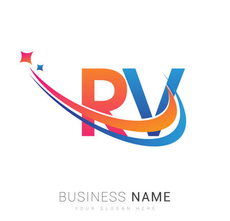 initial letter RV company name colored orange, red and blue swoosh star design. vector for business and company identity.