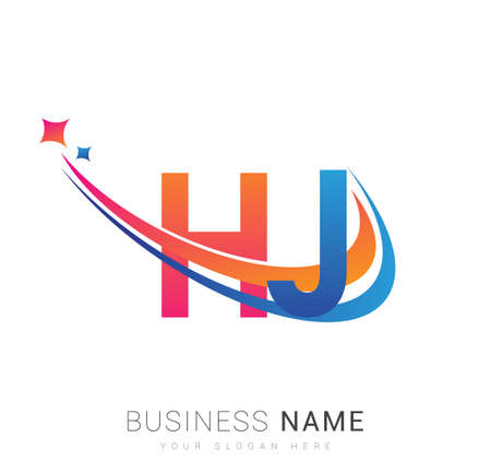 initial letter HJ company name colored orange, red and blue swoosh star design. vector for business and company identity. 向量圖像