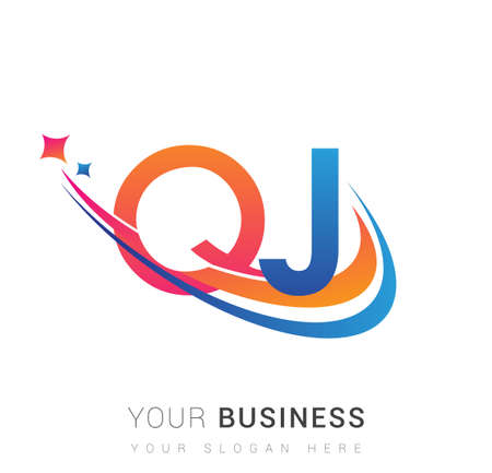 initial letter QJ company name colored orange, red and blue swoosh star design. vector for business and company identity. 向量圖像