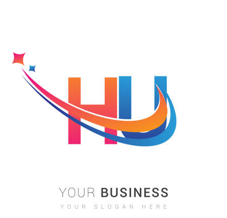 initial letter HU company name colored orange, red and blue swoosh star design. vector for business and company identity. 向量圖像