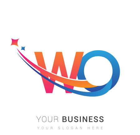 initial letter WO company name colored orange, red and blue swoosh star design. vector for business and company identity. 向量圖像