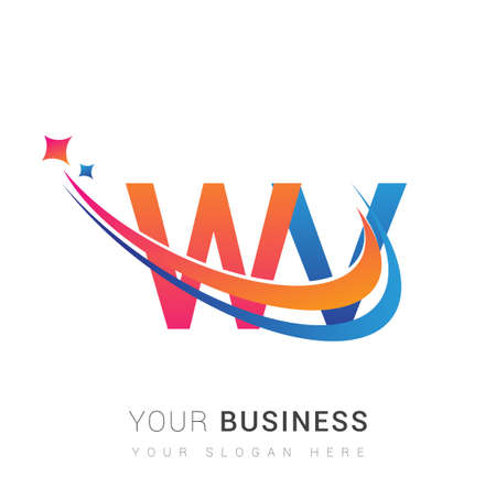 initial letter WV company name colored orange, red and blue swoosh star design. vector for business and company identity. 向量圖像