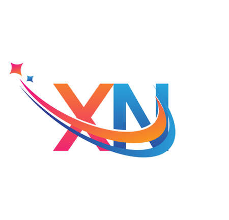 initial letter XN company name colored orange, red and blue swoosh star design. vector for business and company identity. 向量圖像