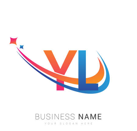 initial letter YL company name colored orange, red and blue swoosh star design. vector for business and company identity. 向量圖像