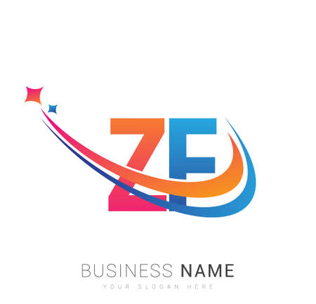 initial letter ZF company name colored orange, red and blue swoosh star design. vector for business and company identity. 向量圖像