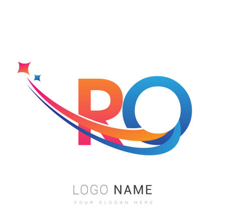 initial letter RO company name colored orange, red and blue swoosh star design. vector for business and company identity.