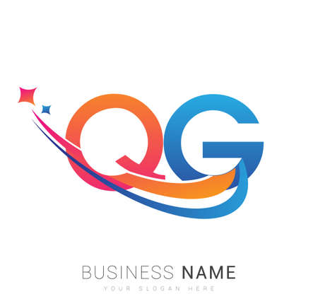 initial letter QG company name colored orange, red and blue swoosh star design. vector for business and company identity. 向量圖像