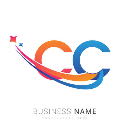 initial letter CC company name colored orange, red and blue swoosh star design. vector for business and company identity.