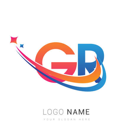 initial letter GR company name colored orange, red and blue swoosh star design. vector for business and company identity. 向量圖像