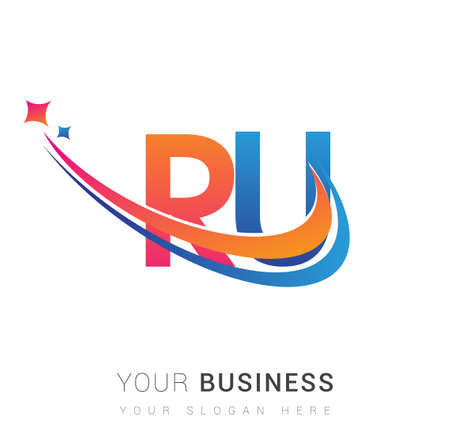initial letter RU logotype company name colored orange, red and blue swoosh star design. vector logo for business and company identity.