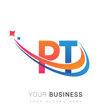initial letter PT logotype company name colored orange, red and blue swoosh star design. vector logo for business and company identity.