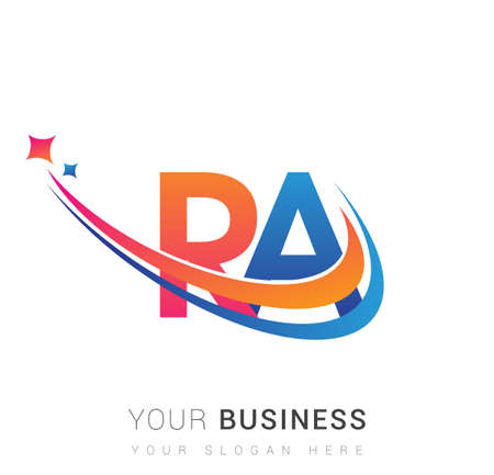 initial letter RA logotype company name colored orange, red and blue swoosh star design. vector logo for business and company identity.