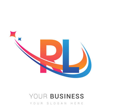 initial letter company name colored orange, red and blue swoosh star design. vector for business and company identity. 向量圖像