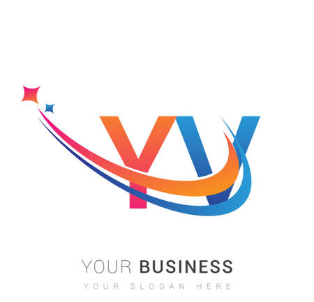 initial letter YV company name colored orange, red and blue swoosh star design. vector for business and company identity.