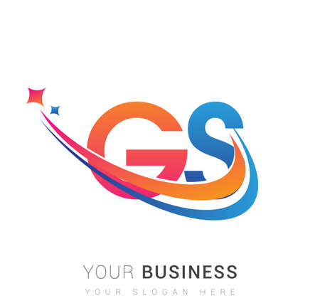 initial letter GS company name colored orange, red and blue swoosh star design. vector for business and company identity.