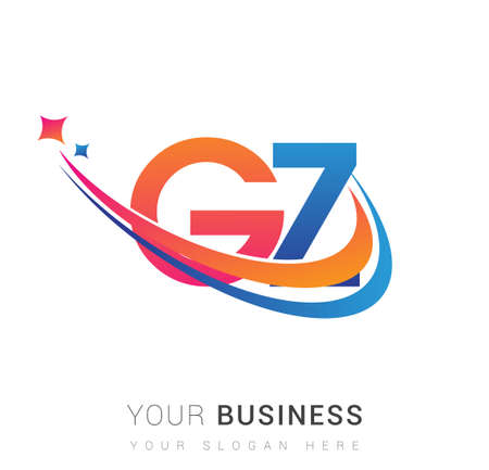 initial letter GZ company name colored orange, red and blue swoosh star design. vector for business and company identity.