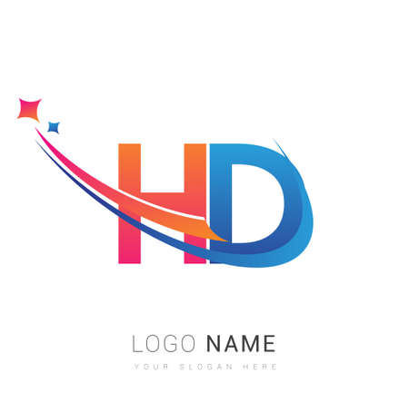 initial letter HD company name colored orange, red and blue swoosh star design. vector for business and company identity. 向量圖像
