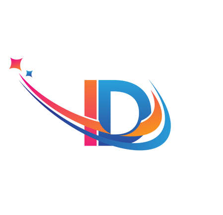 initial letter ID company name colored orange, red and blue swoosh star design. vector for business and company identity.