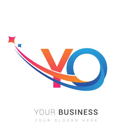 initial letter YO company name colored orange, red and blue swoosh star design. vector for business and company identity. 向量圖像