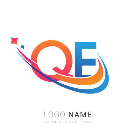 initial letter QE company name colored orange, red and blue swoosh star design. vector for business and company identity. 向量圖像