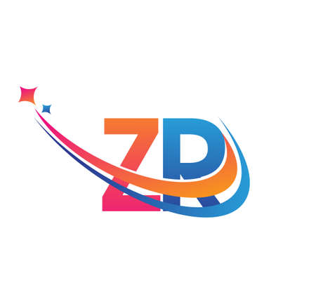 initial letter ZR company name colored orange, red and blue swoosh star design. vector for business and company identity.