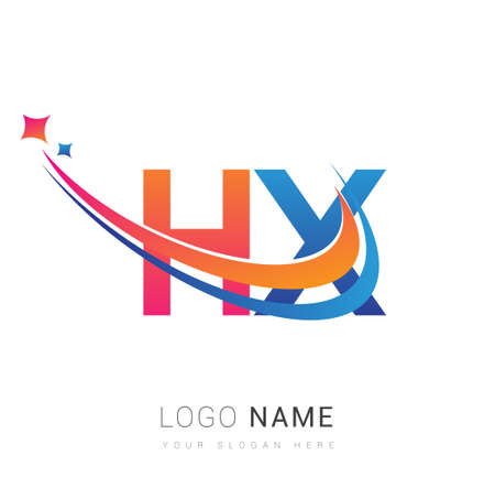 initial letter HX company name colored orange, red and blue swoosh star design. vector for business and company identity.