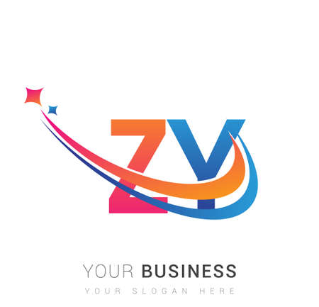 initial letter ZY company name colored orange, red and blue swoosh star design. vector for business and company identity. 向量圖像