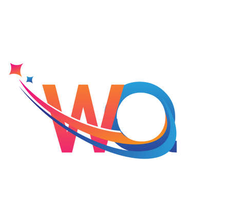 initial letter WQ company name colored orange, red and blue swoosh star design. vector for business and company identity.