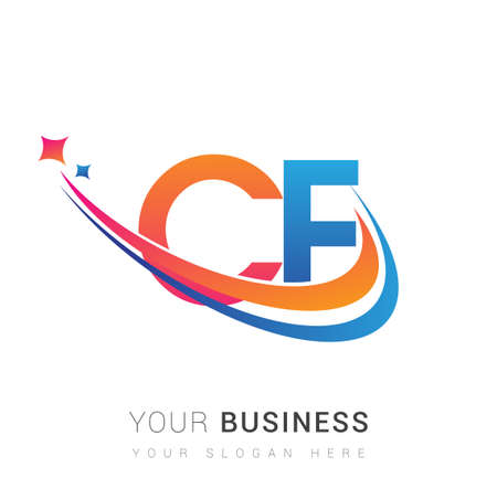 initial letter CF company name colored orange, red and blue swoosh star design. vector for business and company identity.