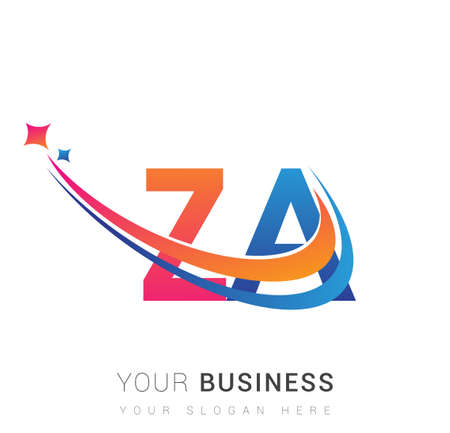 initial letter ZA company name colored orange, red and blue swoosh star design. vector for business and company identity.