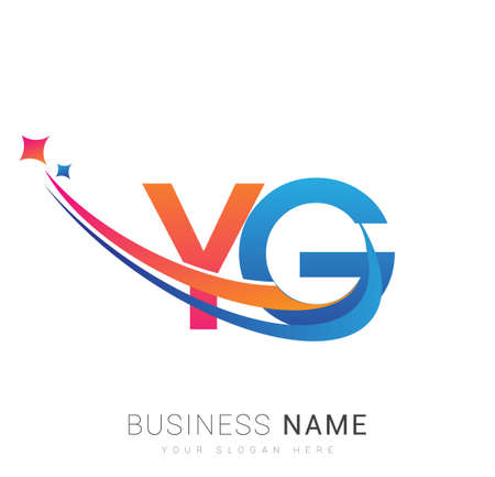 initial letter YG company name colored orange, red and blue swoosh star design. vector for business and company identity.