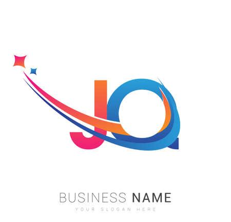 initial letter JQ company name colored orange, red and blue swoosh star design. vector for business and company identity. 向量圖像