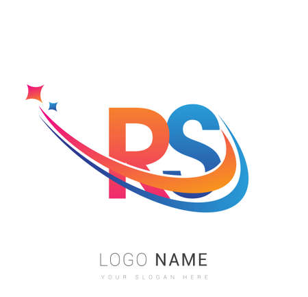 initial letter RS company name colored orange, red and blue swoosh star design. vector for business and company identity.