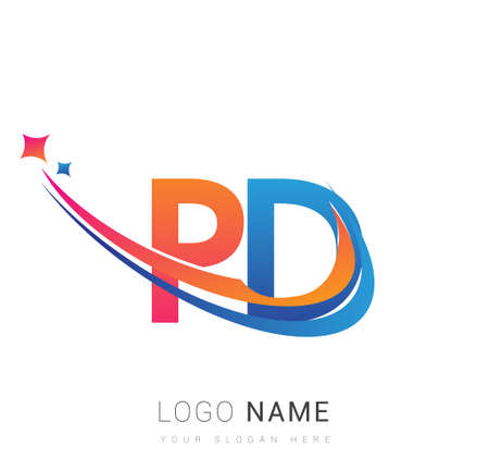 initial letter PD company name colored orange, red and blue swoosh star design. vector for business and company identity. 向量圖像
