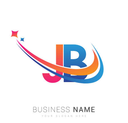 initial letter JB company name colored orange, red and blue swoosh star design. vector for business and company identity. 向量圖像