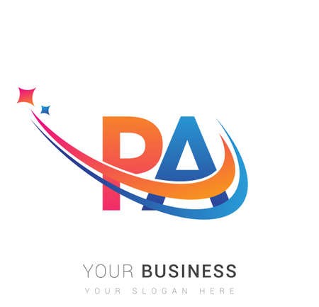 initial letter PA company name colored orange, red and blue swoosh star design. vector for business and company identity.