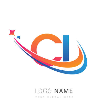 initial letter CI logotype company name colored orange, red and blue swoosh star design. vector logo for business and company identity. Illusztráció