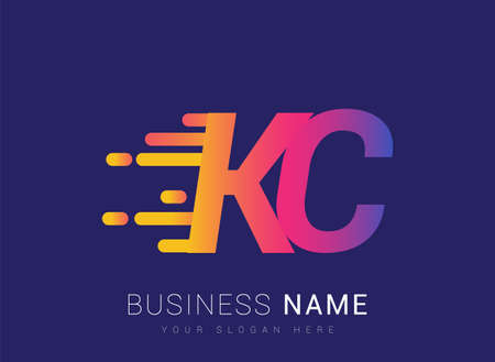 Initial Letter KC speed Logo Design template, logotype company name colored yellow, magenta and blue.for business and company identity.