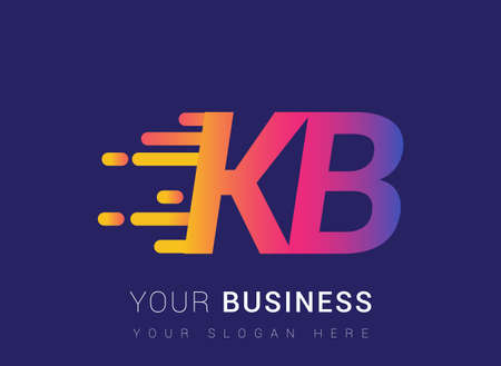 Initial Letter KB speed Logo Design template, logotype company name colored yellow, magenta and blue.for business and company identity. Logo