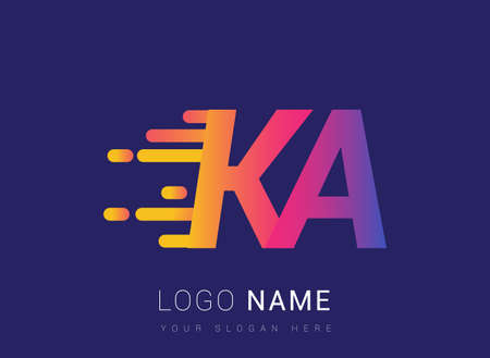 Initial Letter KA speed Logo Design template, logotype company name colored yellow, magenta and blue.for business and company identity. Logo
